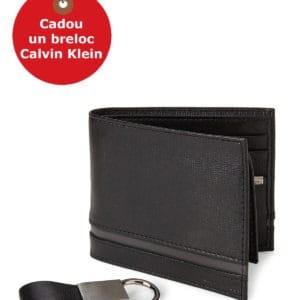 Set Portofel + Breloc Calvin Klein Black Leather Passcase Wallet & Twist Key Fob Set - din piele