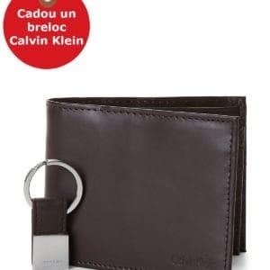 Set Portofel Calvin Klein doua bucati + Breloc - Two-Piece Black Leather Billfold Wallet & Key Fob Set